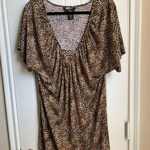 Animal print draped dress
